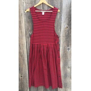 VTG 90s Grunge Red & Black Gingham Plaid Bib Dress